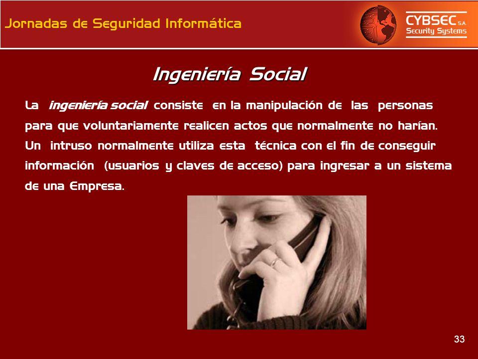 Ingeniería Social La ingeniería social consiste en la manipulación de las personas.