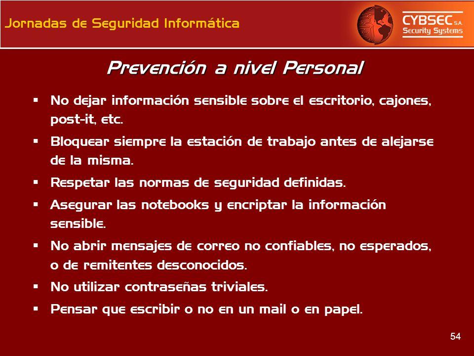Prevención a nivel Personal