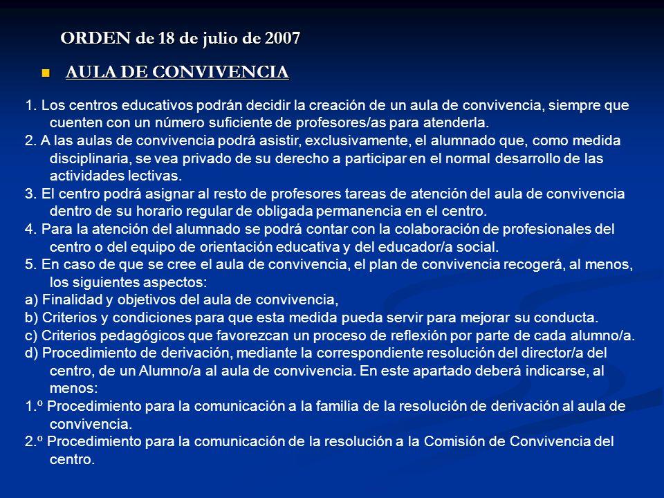 ORDEN de 18 de julio de 2007 AULA DE CONVIVENCIA