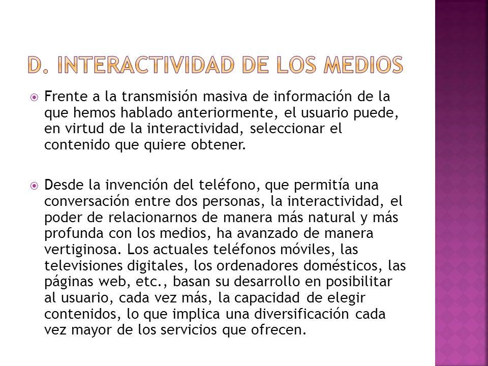 d. Interactividad de los medios