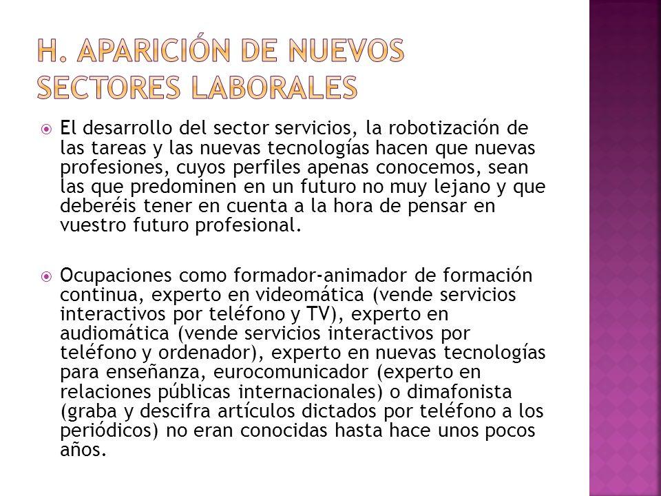 H. Aparición de nuevos sectores laborales