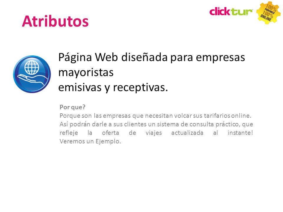 Atributos Página Web diseñada para empresas mayoristas