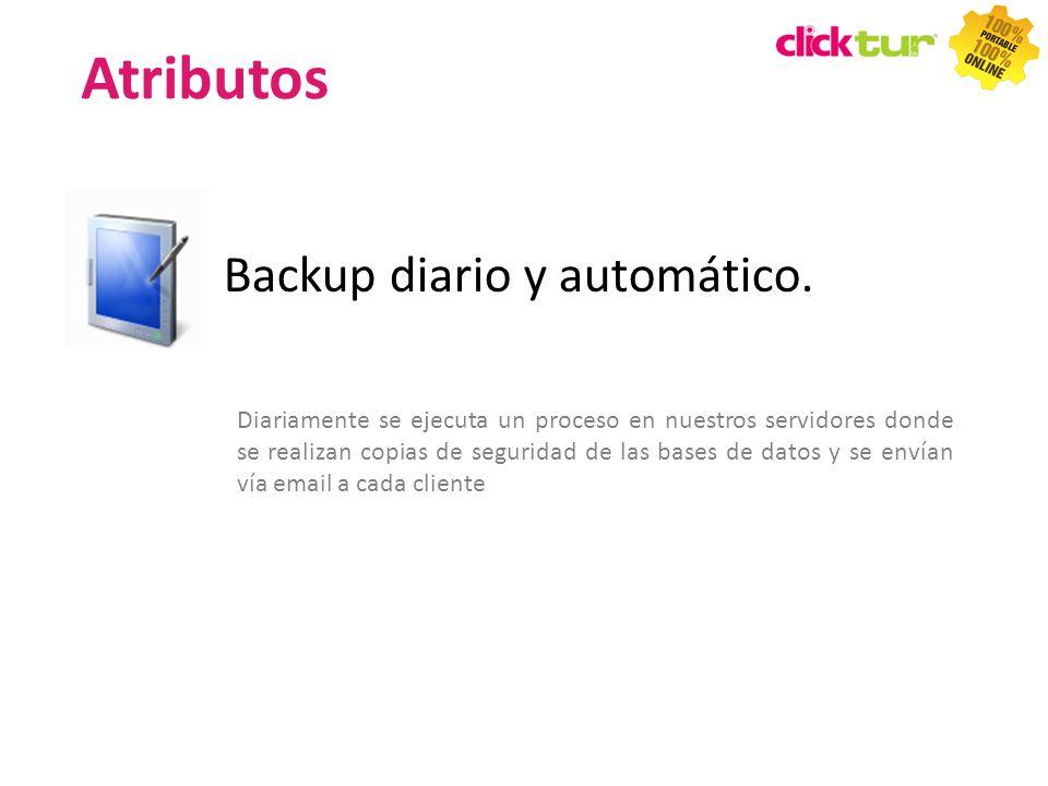 Atributos Backup diario y automático.