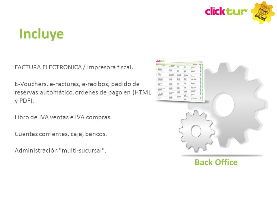 Incluye Back Office FACTURA ELECTRONICA / impresora fiscal.