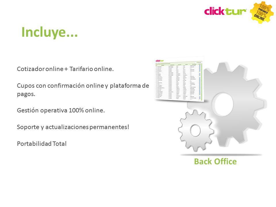 Incluye... Back Office Cotizador online + Tarifario online.