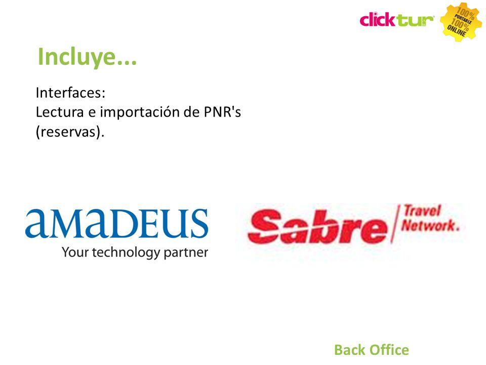 Incluye... Interfaces: Lectura e importación de PNR s (reservas).