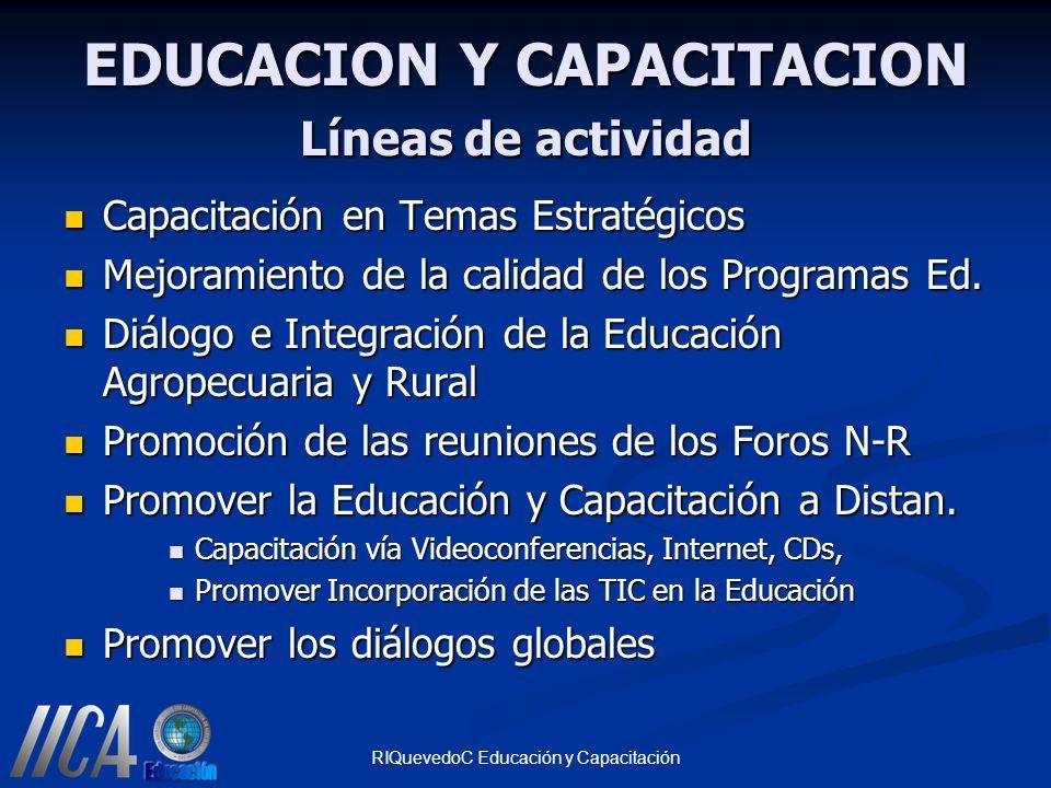 EDUCACION Y CAPACITACION Líneas de actividad