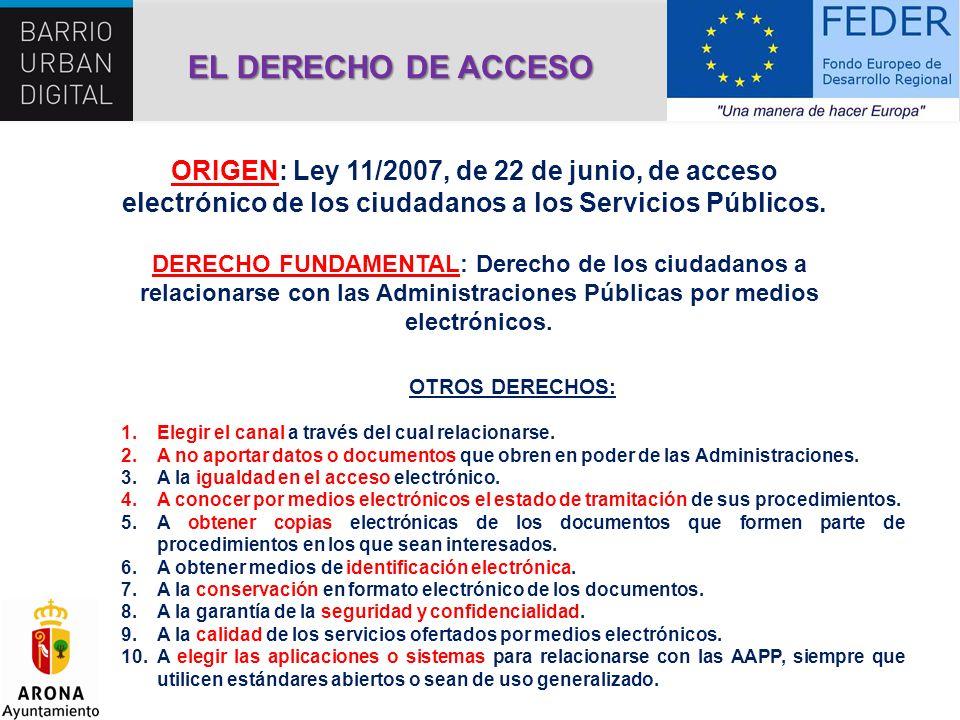 EL DERECHO DE ACCESO ORIGEN: Ley 11/2007, de 22 de junio, de acceso electrónico de los ciudadanos a los Servicios Públicos.