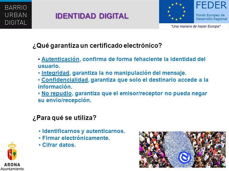 IDENTIDAD DIGITAL ¿Qué garantiza un certificado electrónico