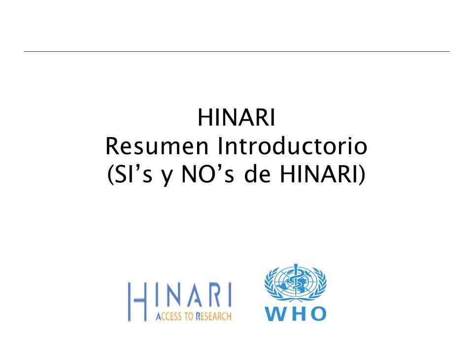 HINARI Resumen Introductorio (SI's y NO's de HINARI)