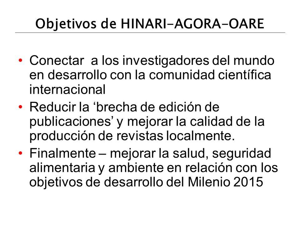 Objetivos de HINARI-AGORA-OARE