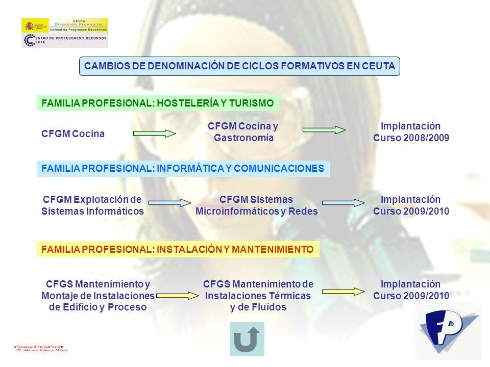 CAMBIOS DE DENOMINACIÓN DE CICLOS FORMATIVOS EN CEUTA