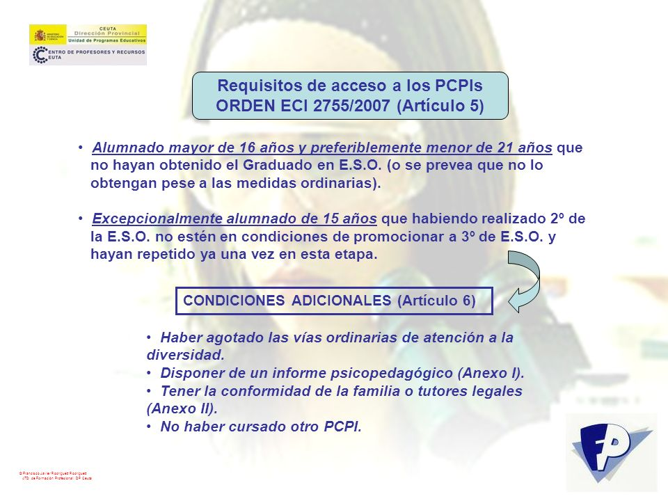 Requisitos de acceso a los PCPIs