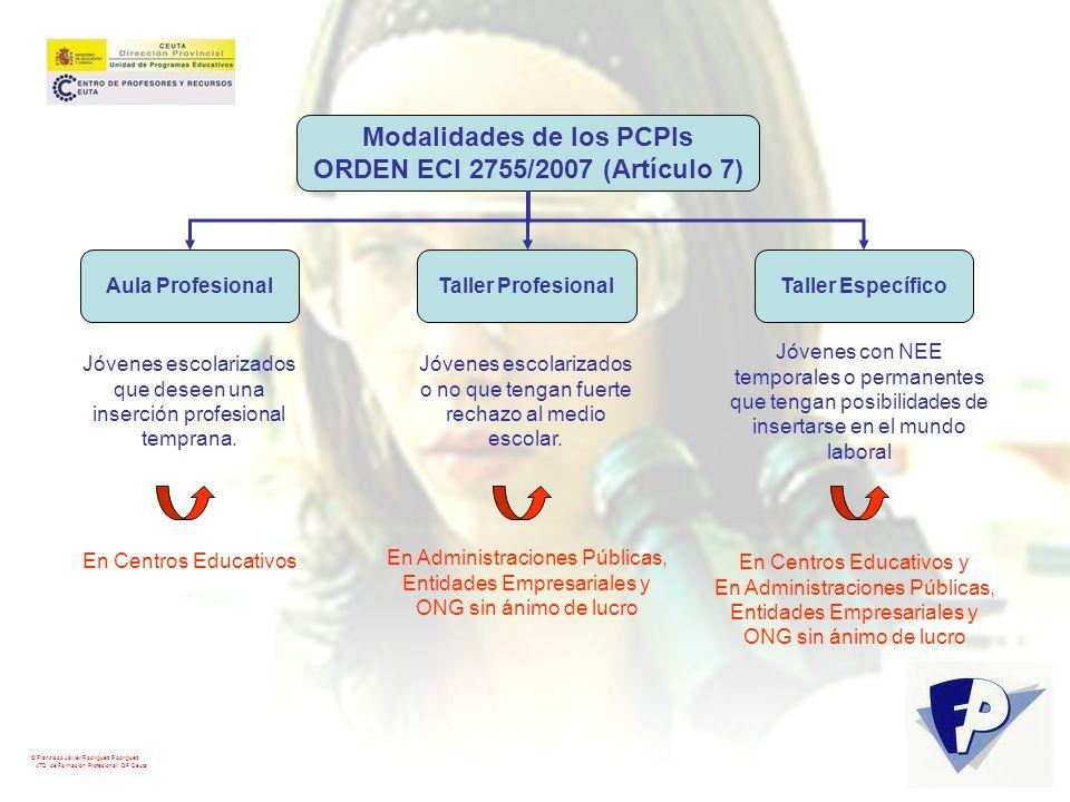 Modalidades de los PCPIs