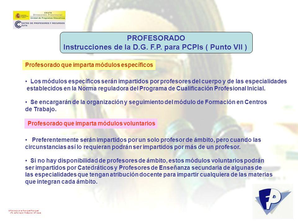 Instrucciones de la D.G. F.P. para PCPIs ( Punto VII )