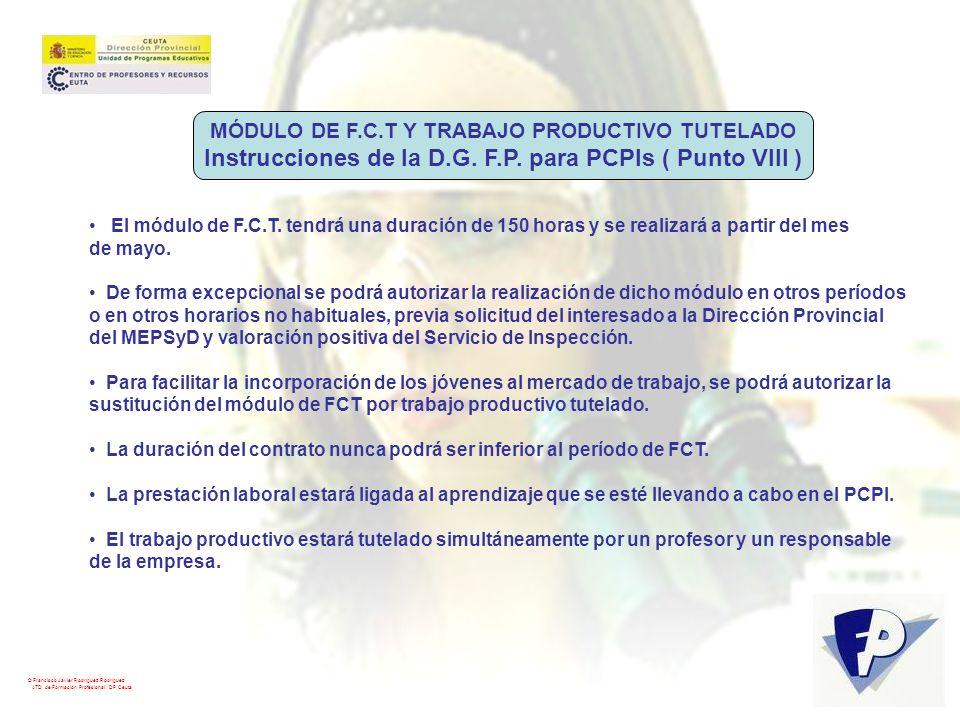 Instrucciones de la D.G. F.P. para PCPIs ( Punto VIII )