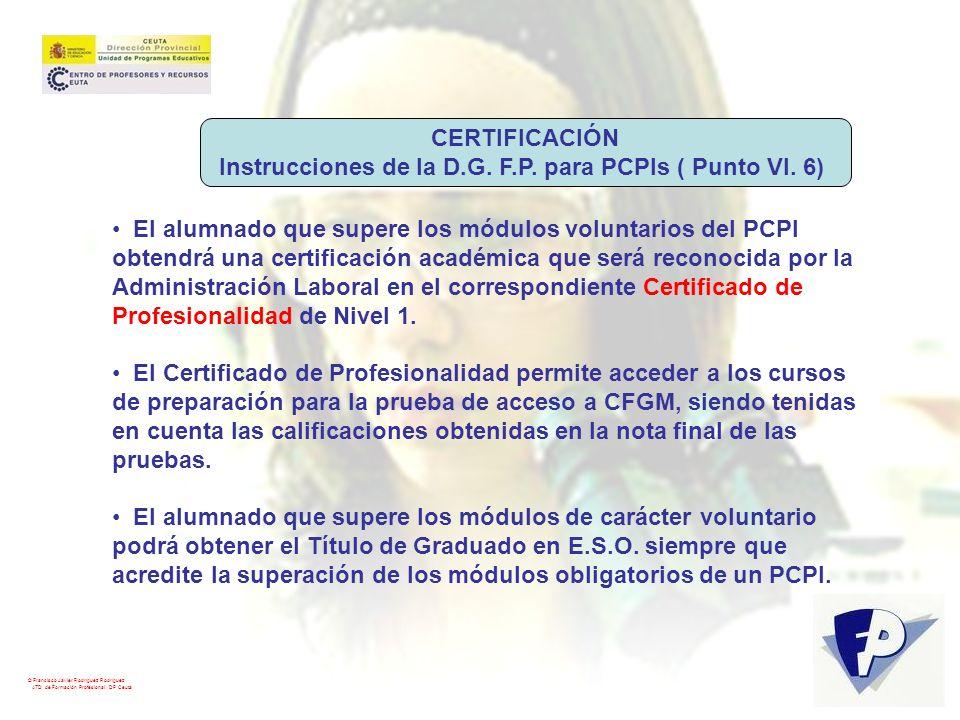 Instrucciones de la D.G. F.P. para PCPIs ( Punto VI. 6)