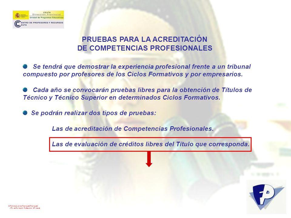 PRUEBAS PARA LA ACREDITACIÓN DE COMPETENCIAS PROFESIONALES