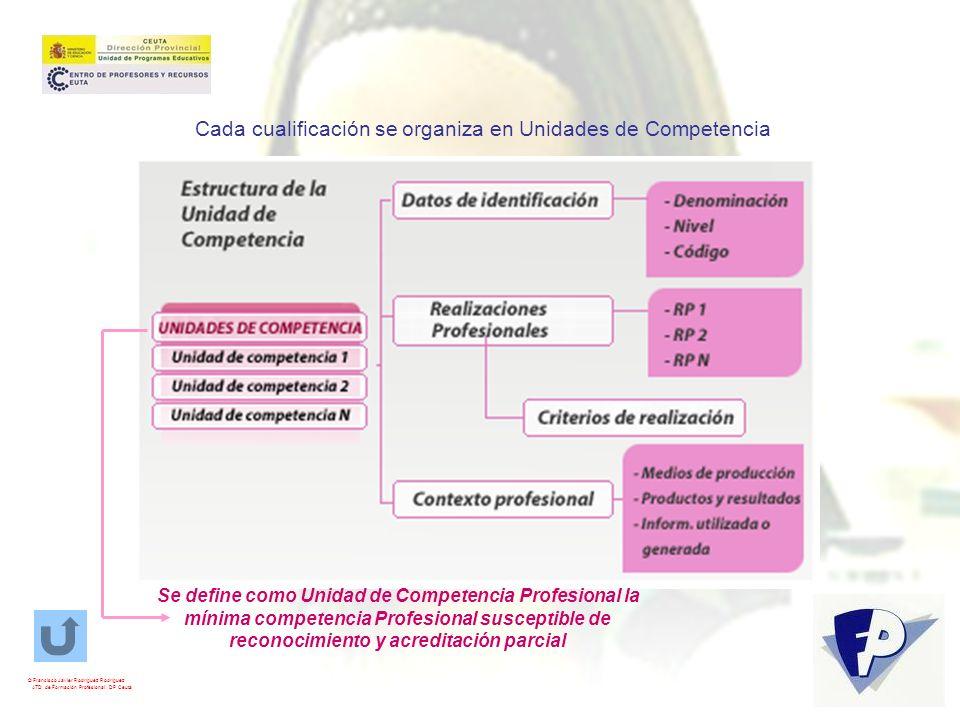 Cada cualificación se organiza en Unidades de Competencia
