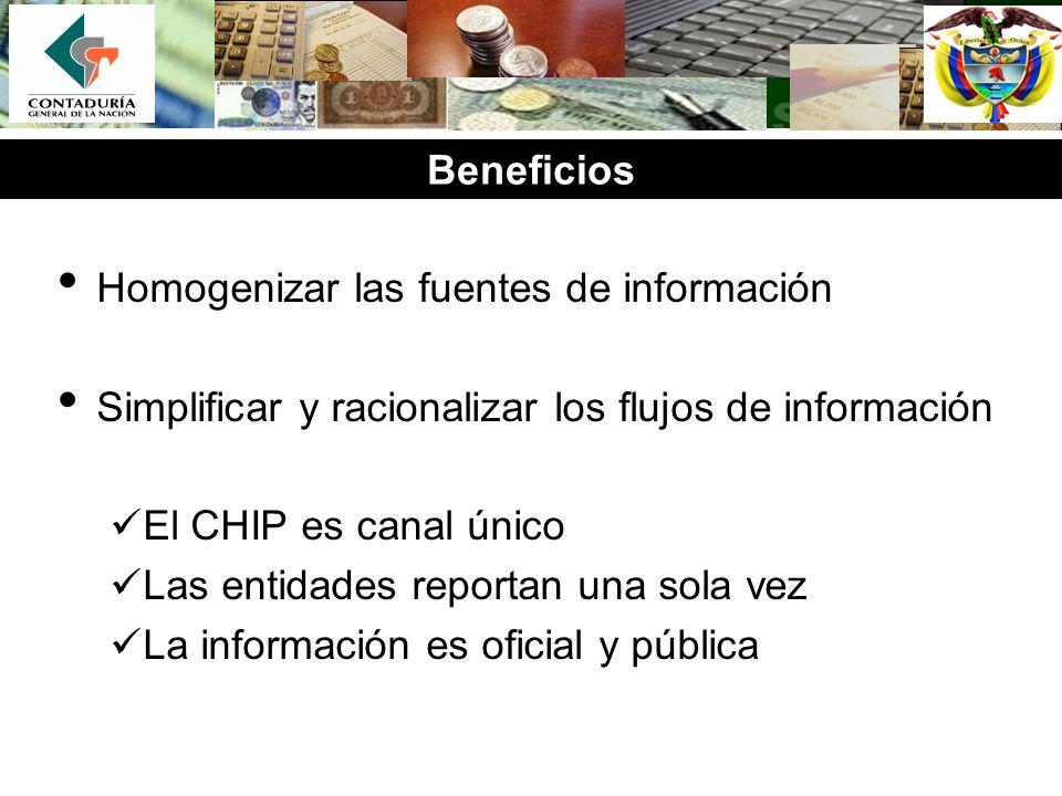 Beneficios Homogenizar las fuentes de información. Simplificar y racionalizar los flujos de información.