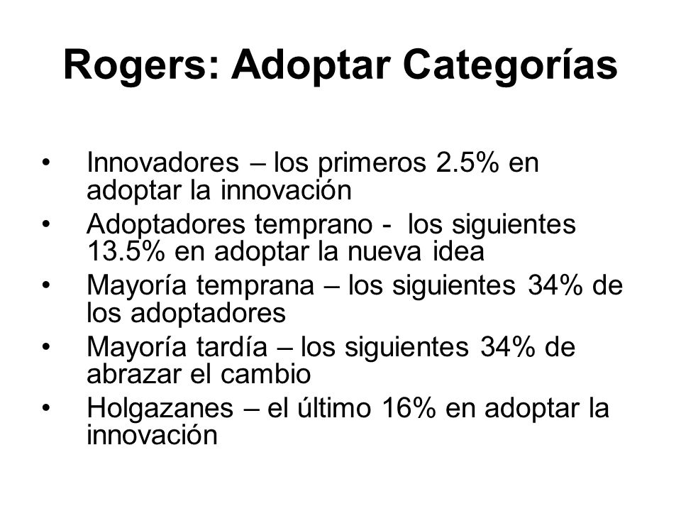 Rogers: Adoptar Categorías