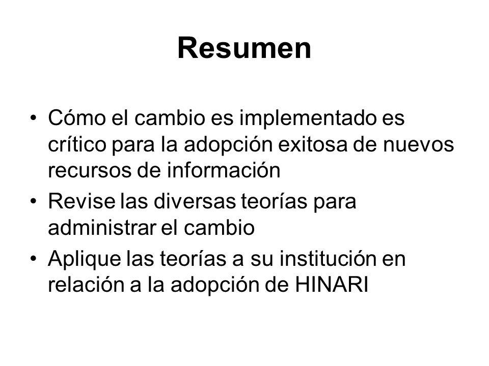 Resumen Cómo el cambio es implementado es crítico para la adopción exitosa de nuevos recursos de información.