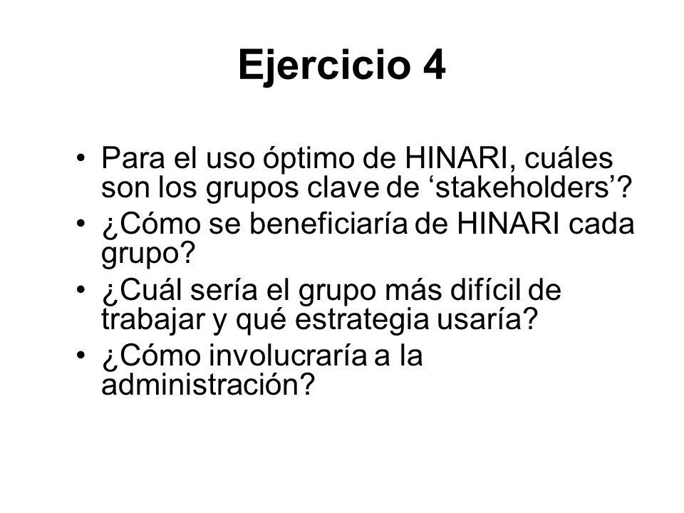 Ejercicio 4 Para el uso óptimo de HINARI, cuáles son los grupos clave de 'stakeholders' ¿Cómo se beneficiaría de HINARI cada grupo
