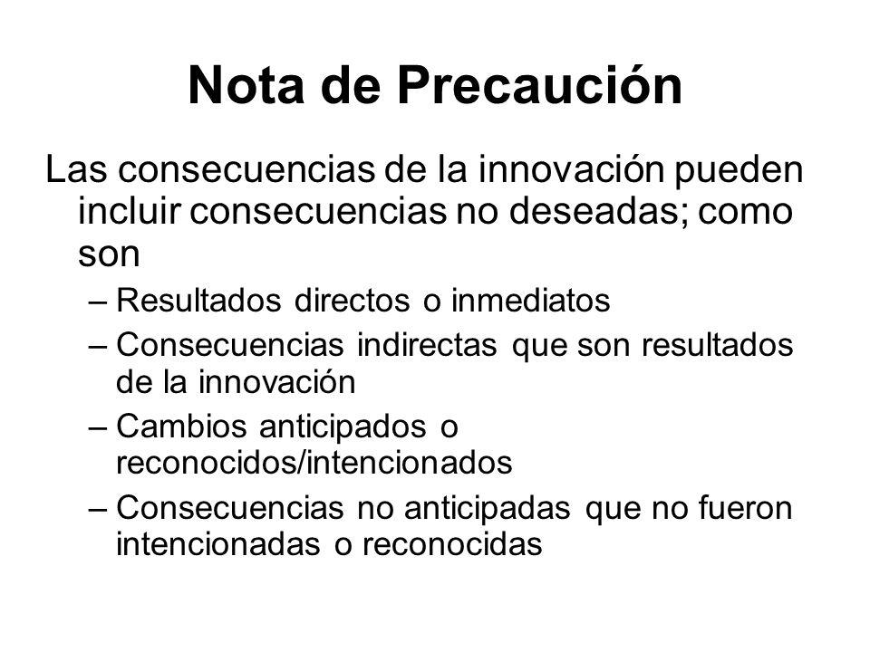 Nota de Precaución Las consecuencias de la innovación pueden incluir consecuencias no deseadas; como son.