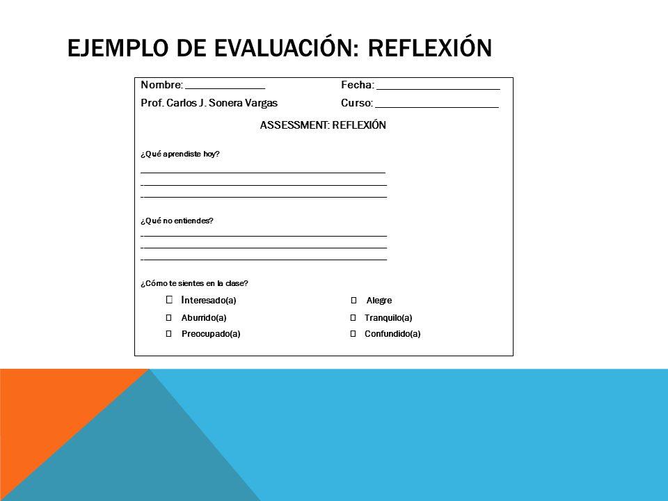 Ejemplo de evaluación: reflexión