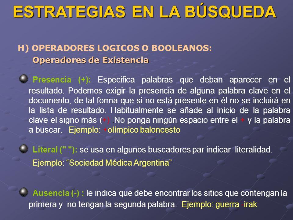 ESTRATEGIAS EN LA BÚSQUEDA