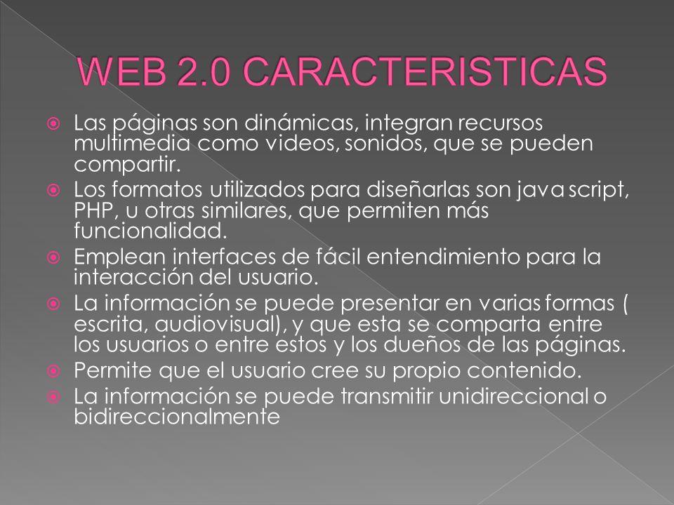 WEB 2.0 CARACTERISTICAS Las páginas son dinámicas, integran recursos multimedia como videos, sonidos, que se pueden compartir.