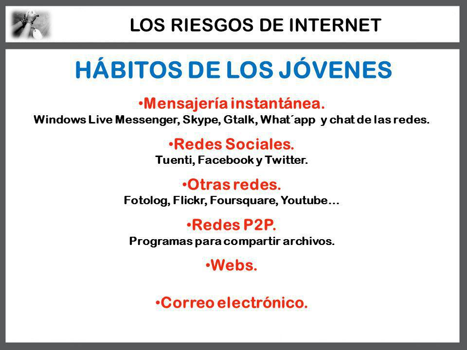HÁBITOS DE LOS JÓVENES LOS RIESGOS DE INTERNET Mensajería instantánea.