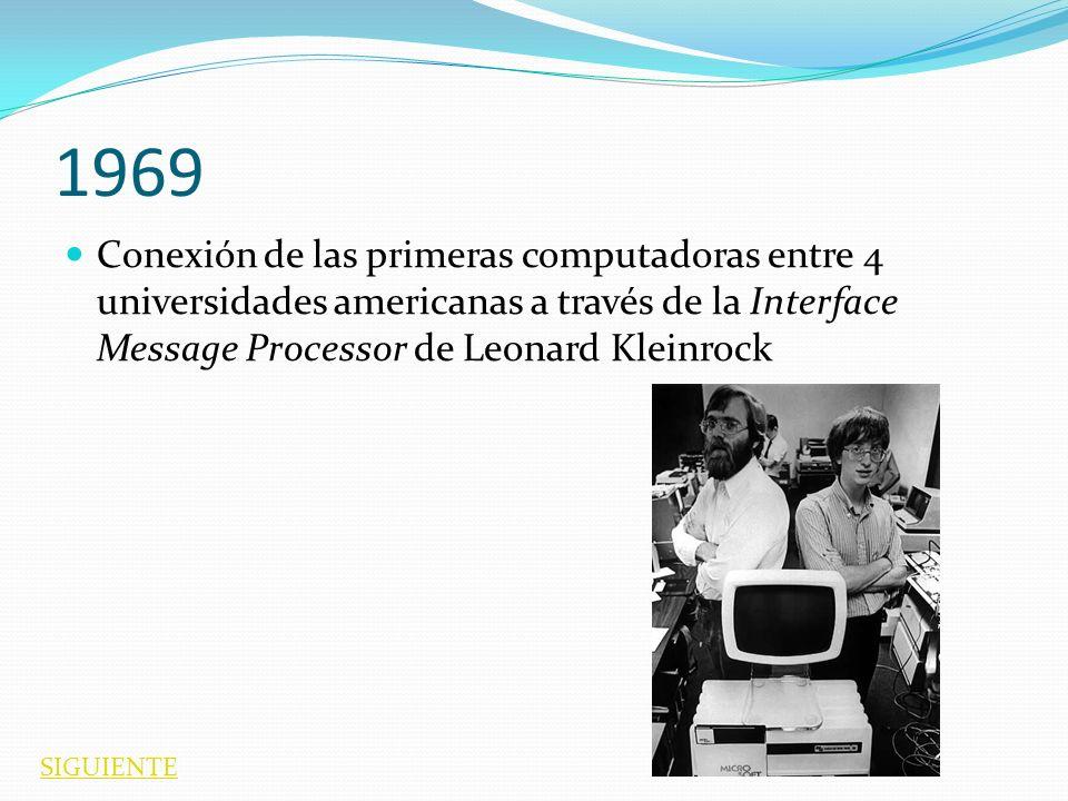 1969 Conexión de las primeras computadoras entre 4 universidades americanas a través de la Interface Message Processor de Leonard Kleinrock.