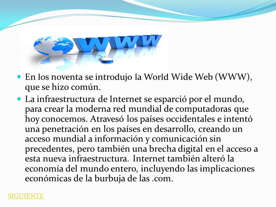 En los noventa se introdujo la World Wide Web (WWW), que se hizo común.