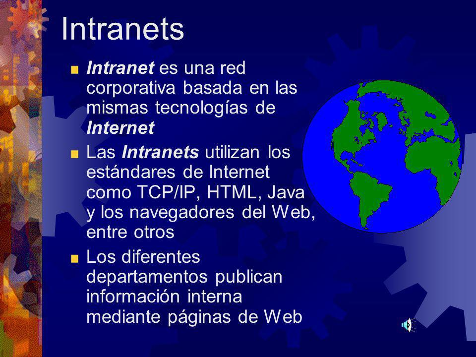 Intranets Intranet es una red corporativa basada en las mismas tecnologías de Internet.