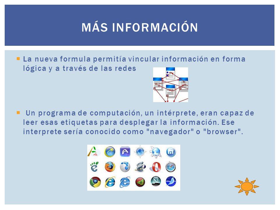 Más información La nueva formula permitía vincular información en forma lógica y a través de las redes.