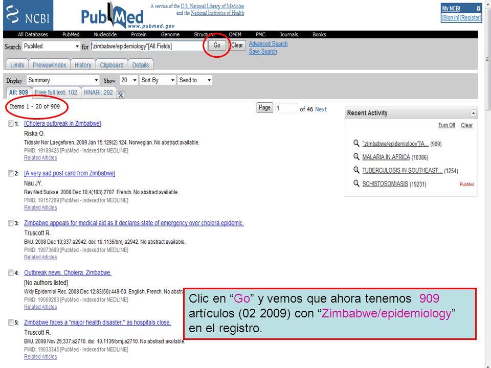 Preview/Index 8 Clic en Go y vemos que ahora tenemos 672 artículos con Zimbabwe/epidemiology en el registro.