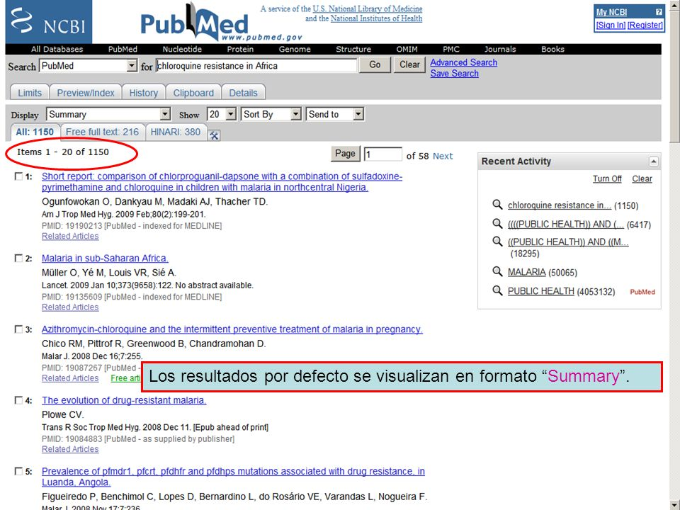 Linking to full text 2 Los resultados por defecto se visualizan en formato Summary .