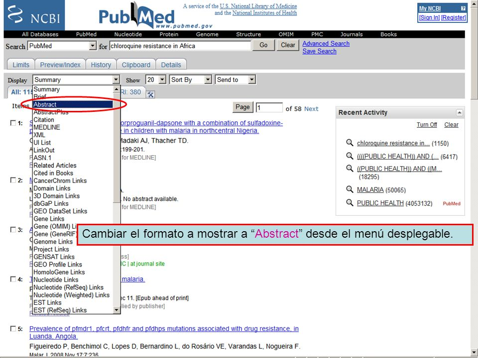 Linking to full text 3Cambiar el formato a mostrar a Abstract desde el menú desplegable.