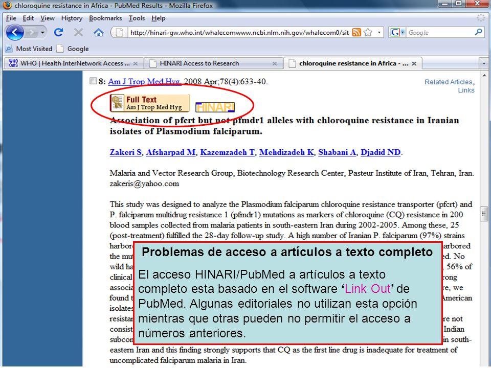 Problemas de acceso a artículos a texto completo