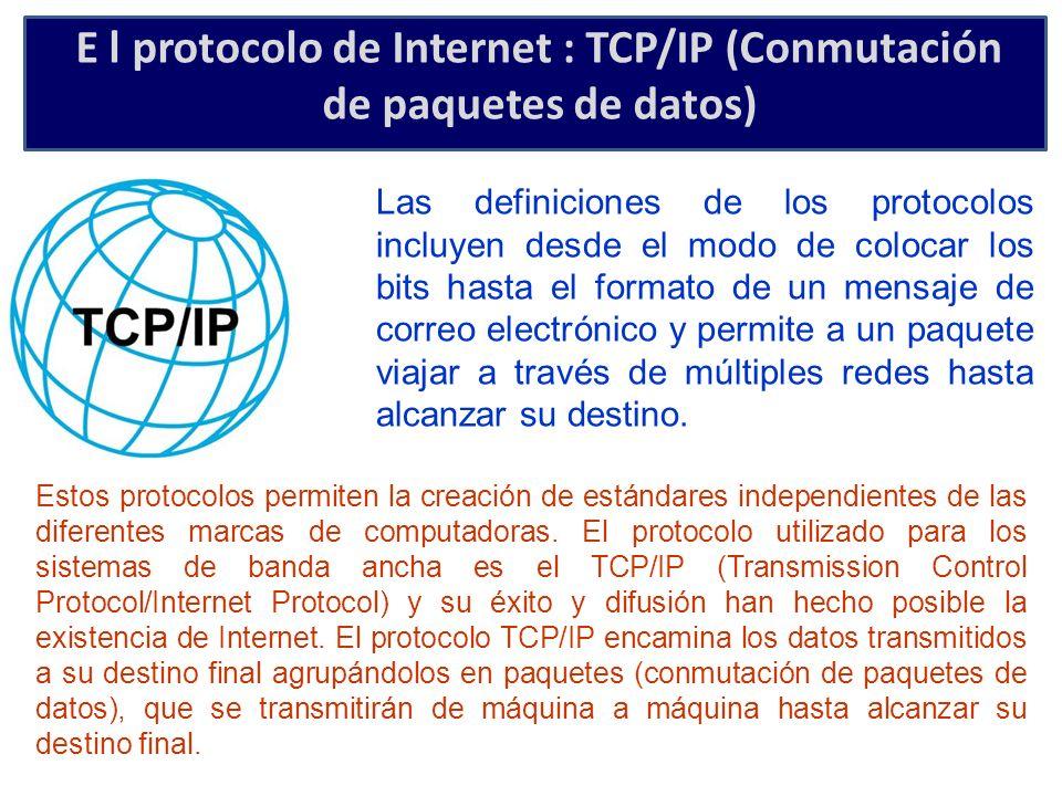 E l protocolo de Internet : TCP/IP (Conmutación de paquetes de datos)
