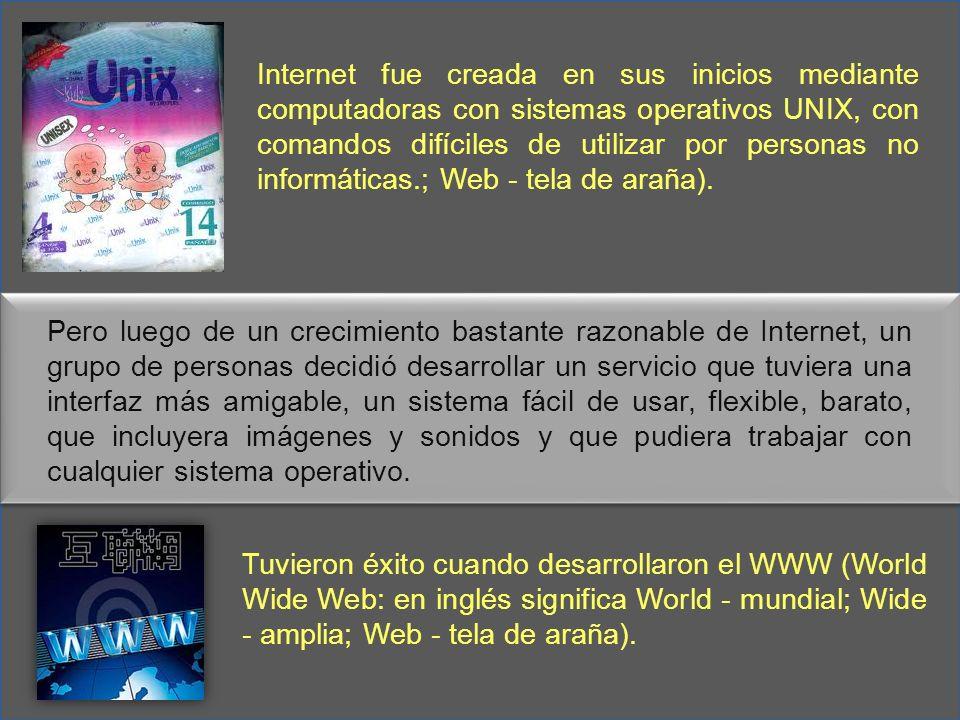 Internet fue creada en sus inicios mediante computadoras con sistemas operativos UNIX, con comandos difíciles de utilizar por personas no informáticas.; Web - tela de araña).