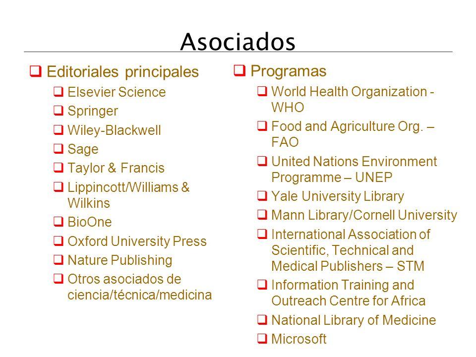 Asociados Editoriales principales Programas Elsevier Science