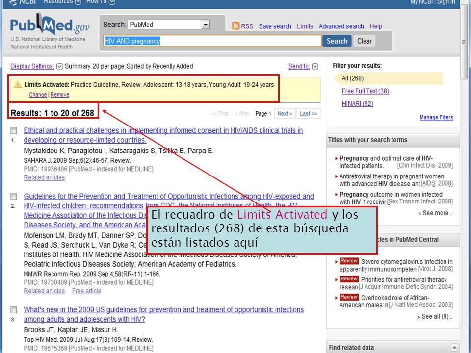 El recuadro de Limits Activated y los resultados (268) de esta búsqueda están listados aquí