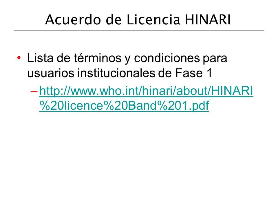 Acuerdo de Licencia HINARI