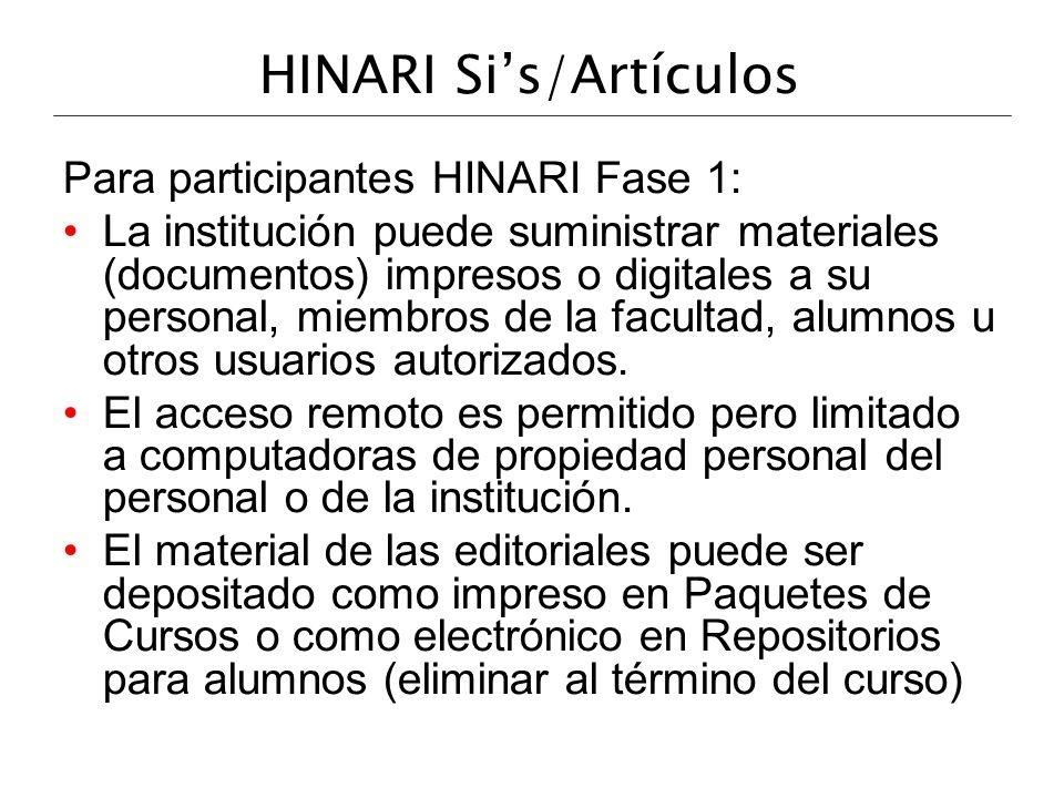 HINARI Si's/Artículos