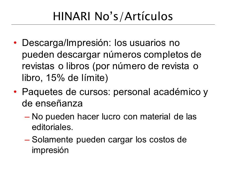 HINARI No's/Artículos