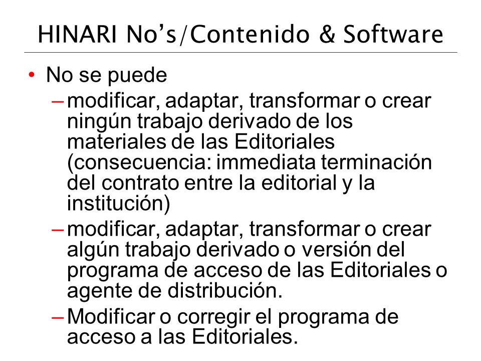 HINARI No's/Contenido & Software