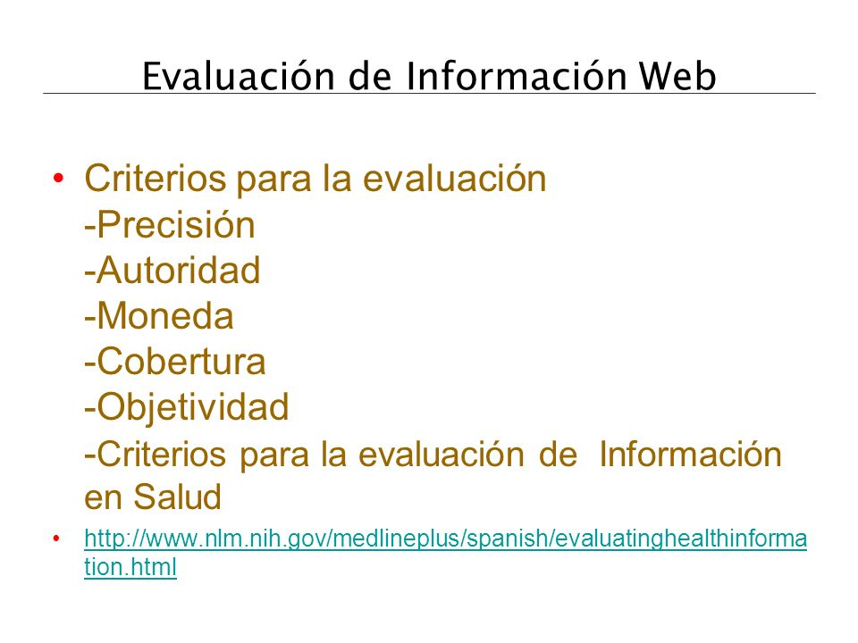 Evaluación de Información Web