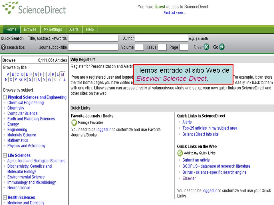 Publishers' websites Hemos entrado al sitio Web de Elsevier Science Direct.